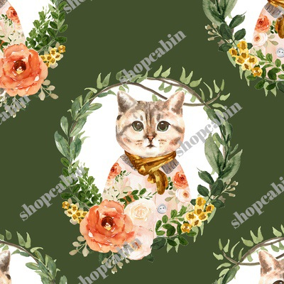 Miss Kitty Floral Wreath Olive Back.jpg