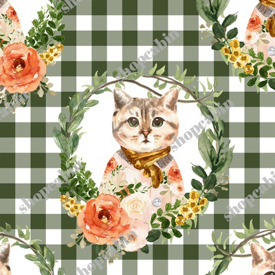 Miss Kitty Floral Wreath Olive Gingham.jpg