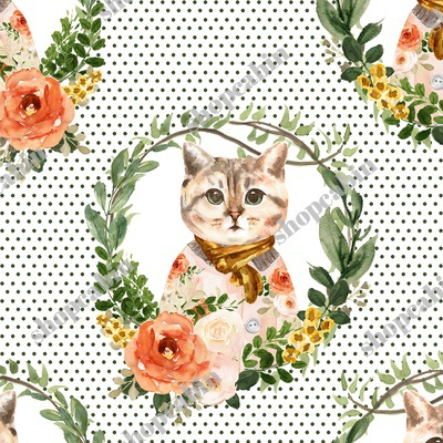 Miss Kitty Floral Wreath Olive Polka Dots White Back.jpg