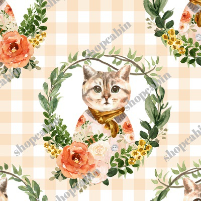 Miss Kitty Floral Wreath Peach Gingham.jpg