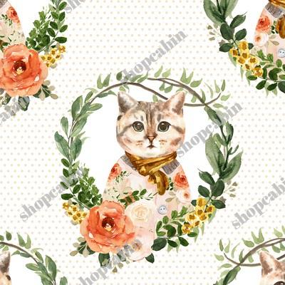 Miss Kitty Floral Wreath Peach Polka Dots.jpg