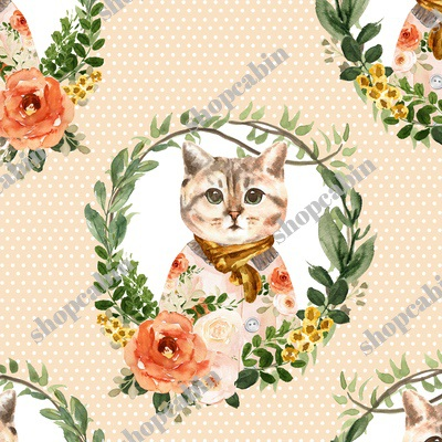 Miss Kitty Floral Wreath White Polka Dots Peach Back.jpg