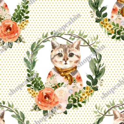 Miss Kitty Floral Wreath Yellow Polka Dots.jpg