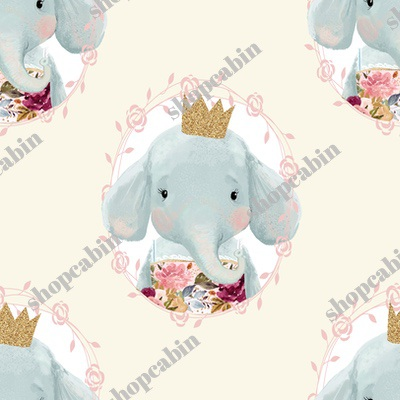 Winter Floral Elephant With Gold Crown Cream Back.jpg