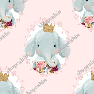 Winter Floral Elephant With Gold Crown Pink Back.jpg