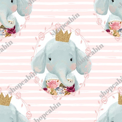 Winter Floral Elephant With Gold Crown With Pink And White Stripes.jpg