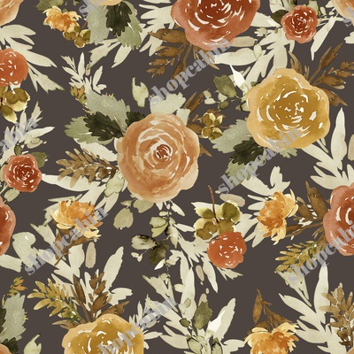Autumn Day Florals Sepia Brown Back.jpg