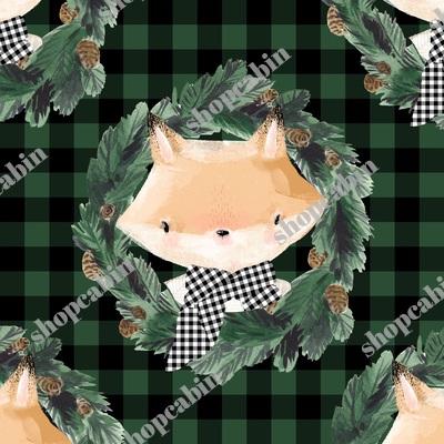 Winter Boy Fox In Green And Black Gingham.jpg