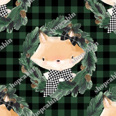 Winter Girl Fox In Green And Black Gingham.jpg
