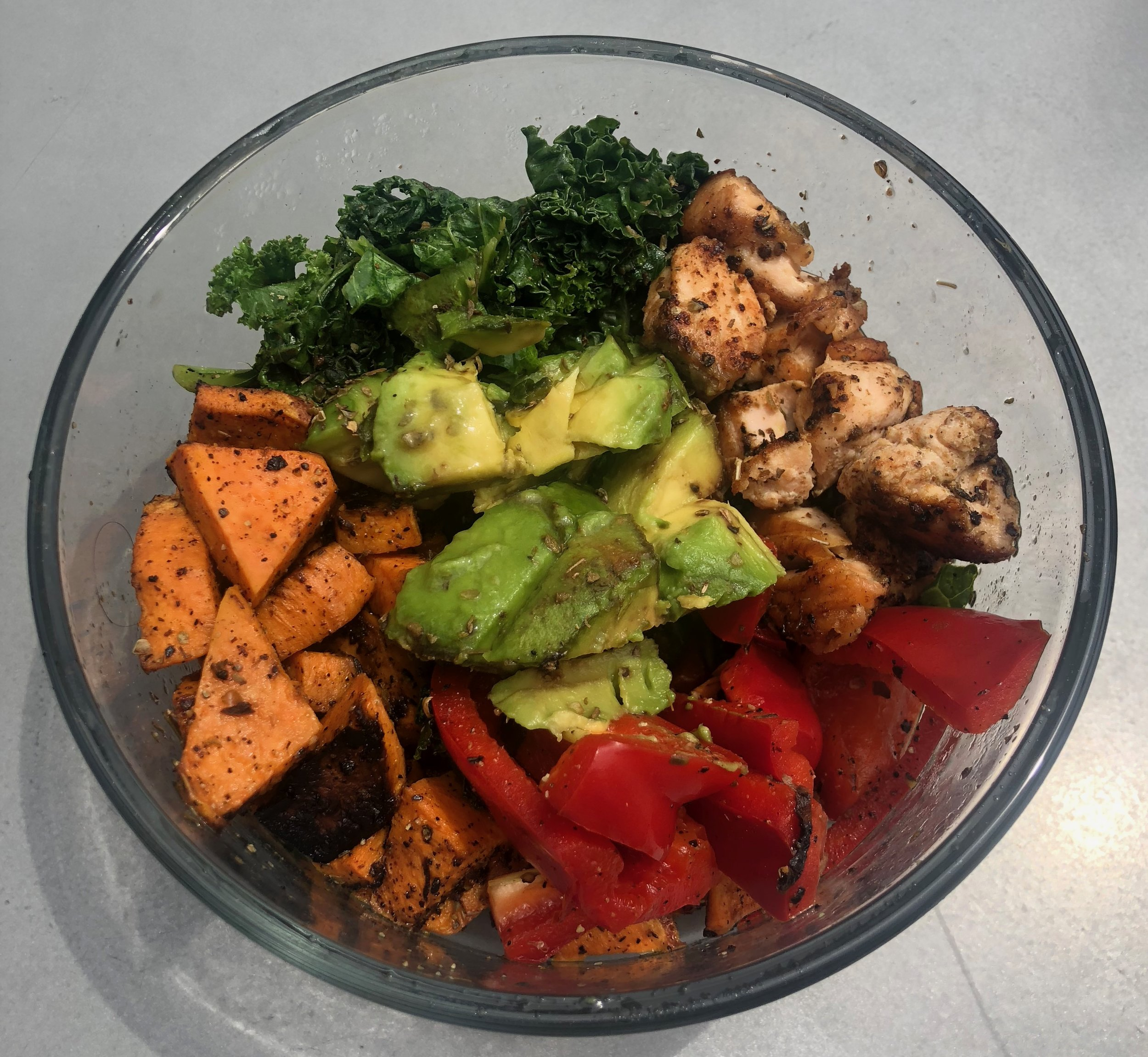 Dinner: Salmon, sautéed kale, sweet potato, avocado, roasted red peppers.