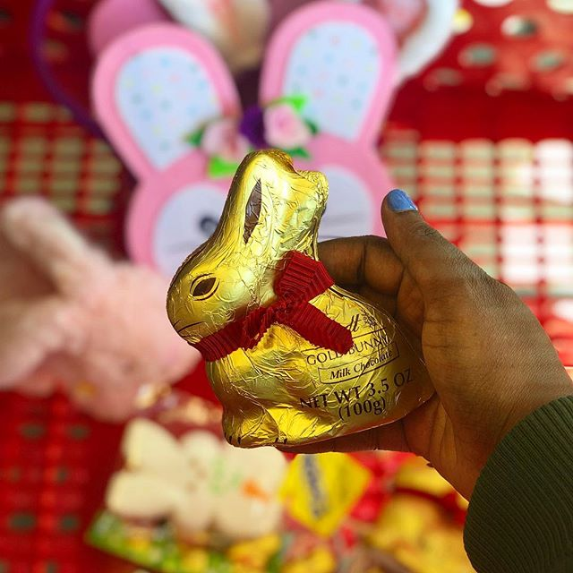 "✨ Sure I'm technically a full-grown ""adult"", but that's NEVER stopped me from enjoying an Easter basket - complete with a @lindt_chocolate GOLD BUNNY...or two 🍫🐰. Luckily @target's got all of my Easter treat needs covered! 🐣🐰 PLUS If you really want to flex this Easter, you can even get your very own personalized ribbon for your Lindt GOLD BUNNY. ✌🏾 Anyone else putting together an Easter basket this year?! 🙋🏾‍♀️ • • •  #sponsored #LindtGOLDBUNNYatTarget #LindtPartner #agirlandagarnish"