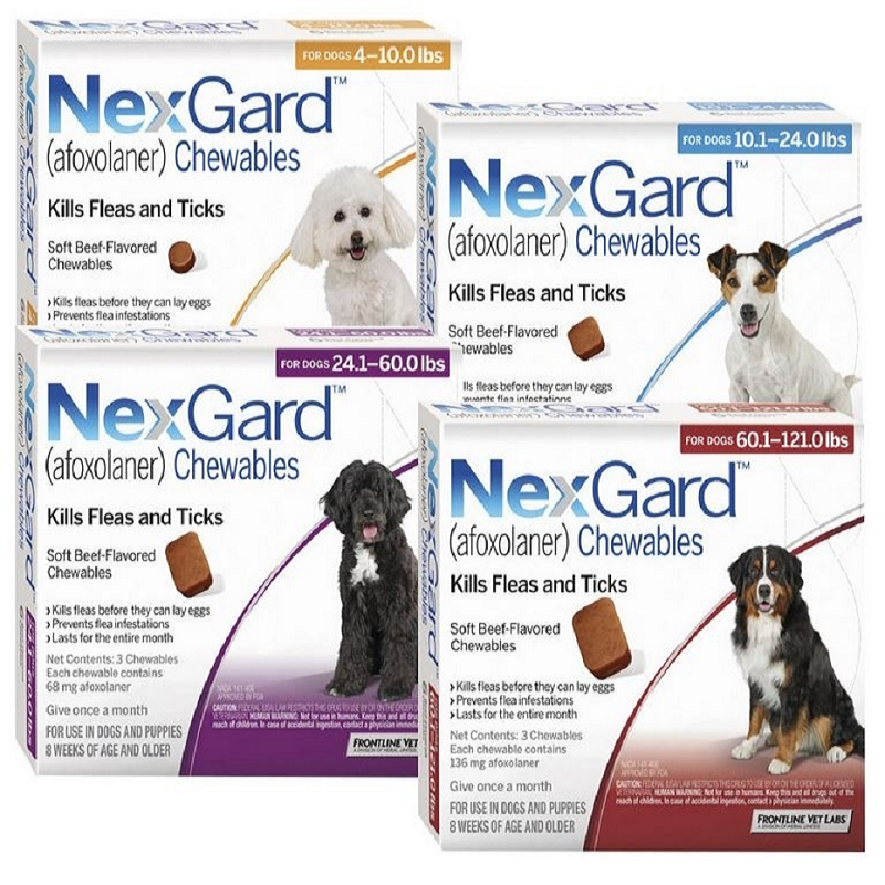 Nexgard - Chewable   NexGard ® is the first oral product that kills fleas, deadly Paralysis ticks, Brown Dog ticks, and Bush ticks on dogs for a full month. NexGard also treats and controls three of the most common mange causing mites affecting dogs: Demodex mites, Sarcoptes mites and ear mites.