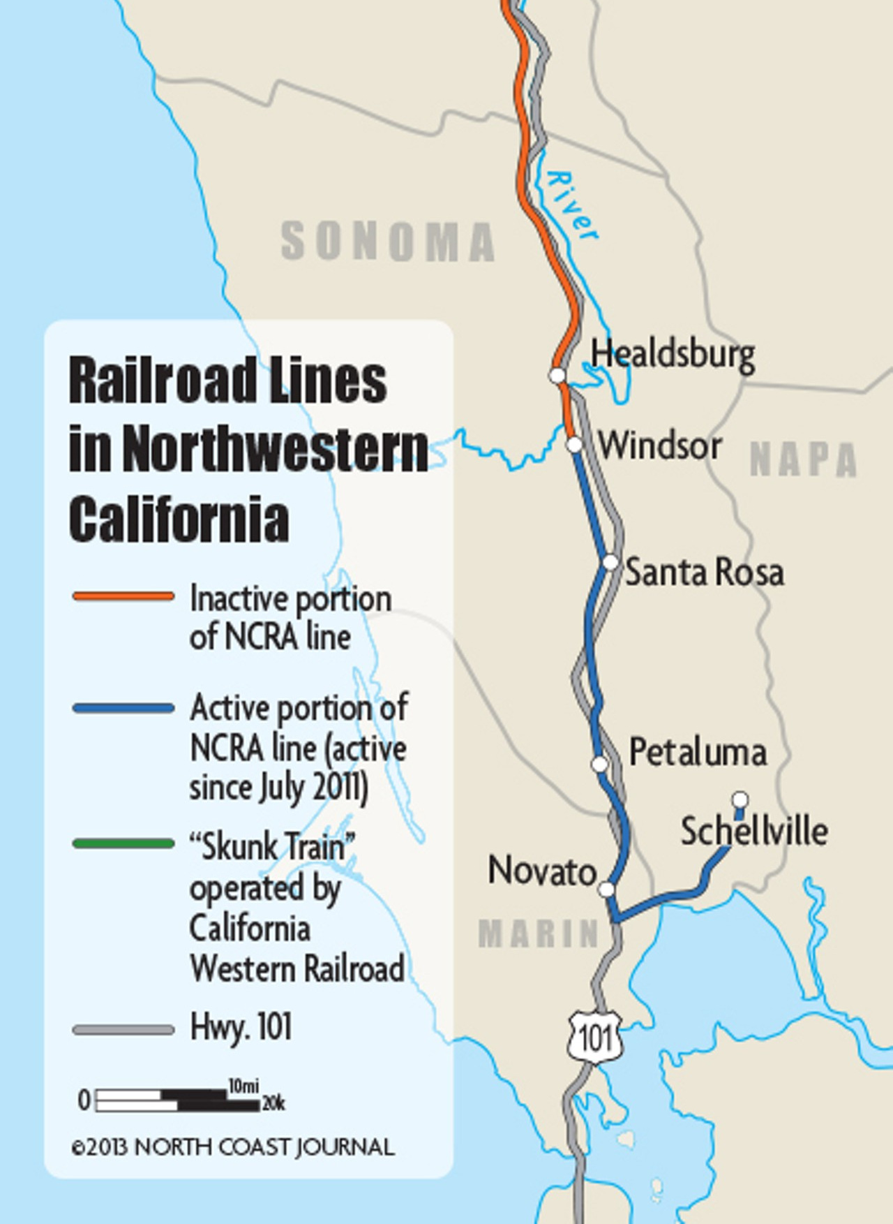 - Southern portion of the line operated by NWP Co.
