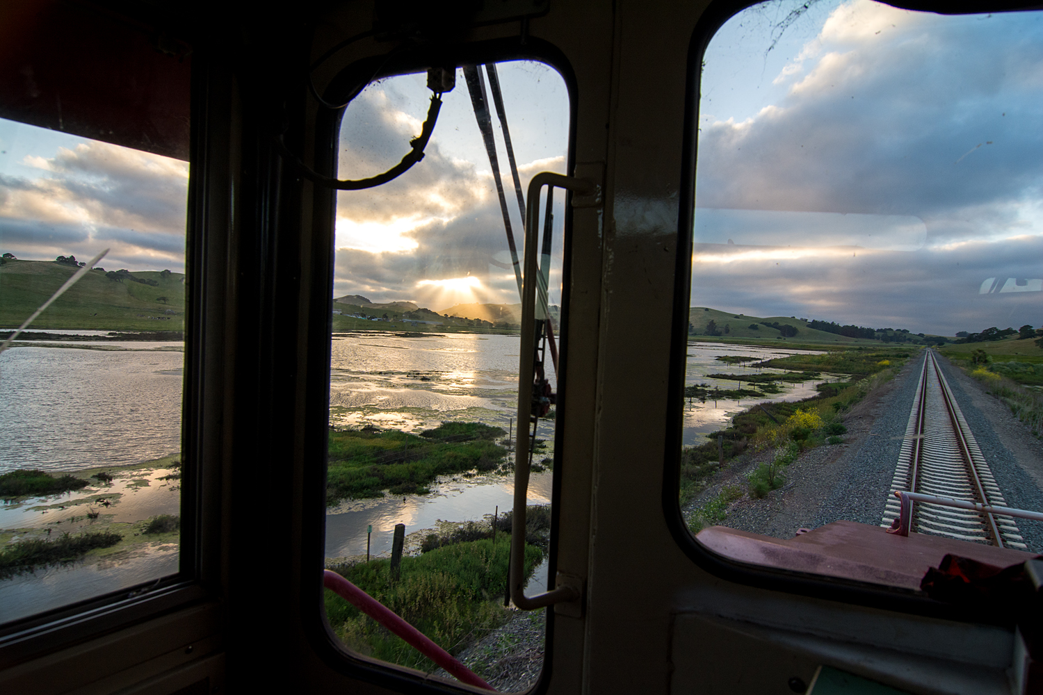 A scenic view from the cab of the locomotive traversing the marshlands between Novato and Petaluma. ©2018 Jamie Miller