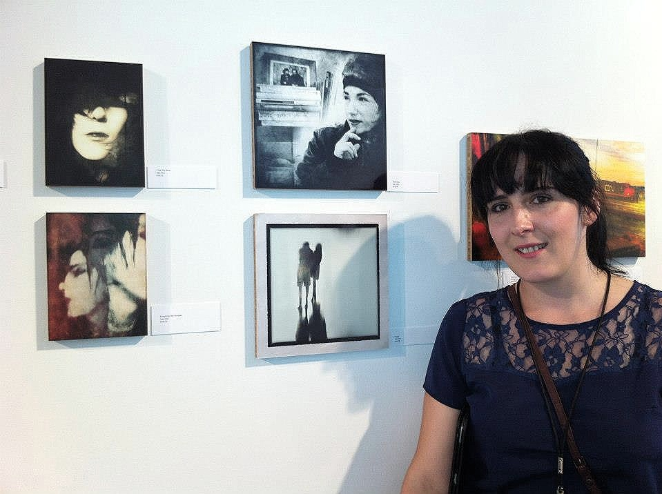 Me and four of my images at the exhibition.