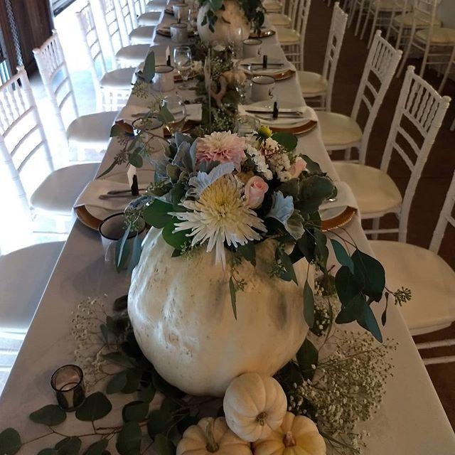 Fun fall wedding yesterday! I love pumpkins!  #ranchwedding #fallwedding #welovethelove #lovepumpkins #lovefall #weddingcenterpiece #flowersarefun  @foxcreekranch #rusticwedding
