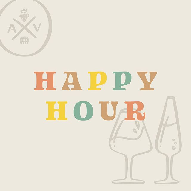 H A P P Y  H O U R @ A V M-F from 4-6 PM — $4 Glass Pours of House Wine Original Red Blend, Chardonnay + Rosé Bubbles 🥂 — In addition, we're offering an EXCLUSIVE deal! Buy a 4 pack of cans to take home + your glass will be complimentary!