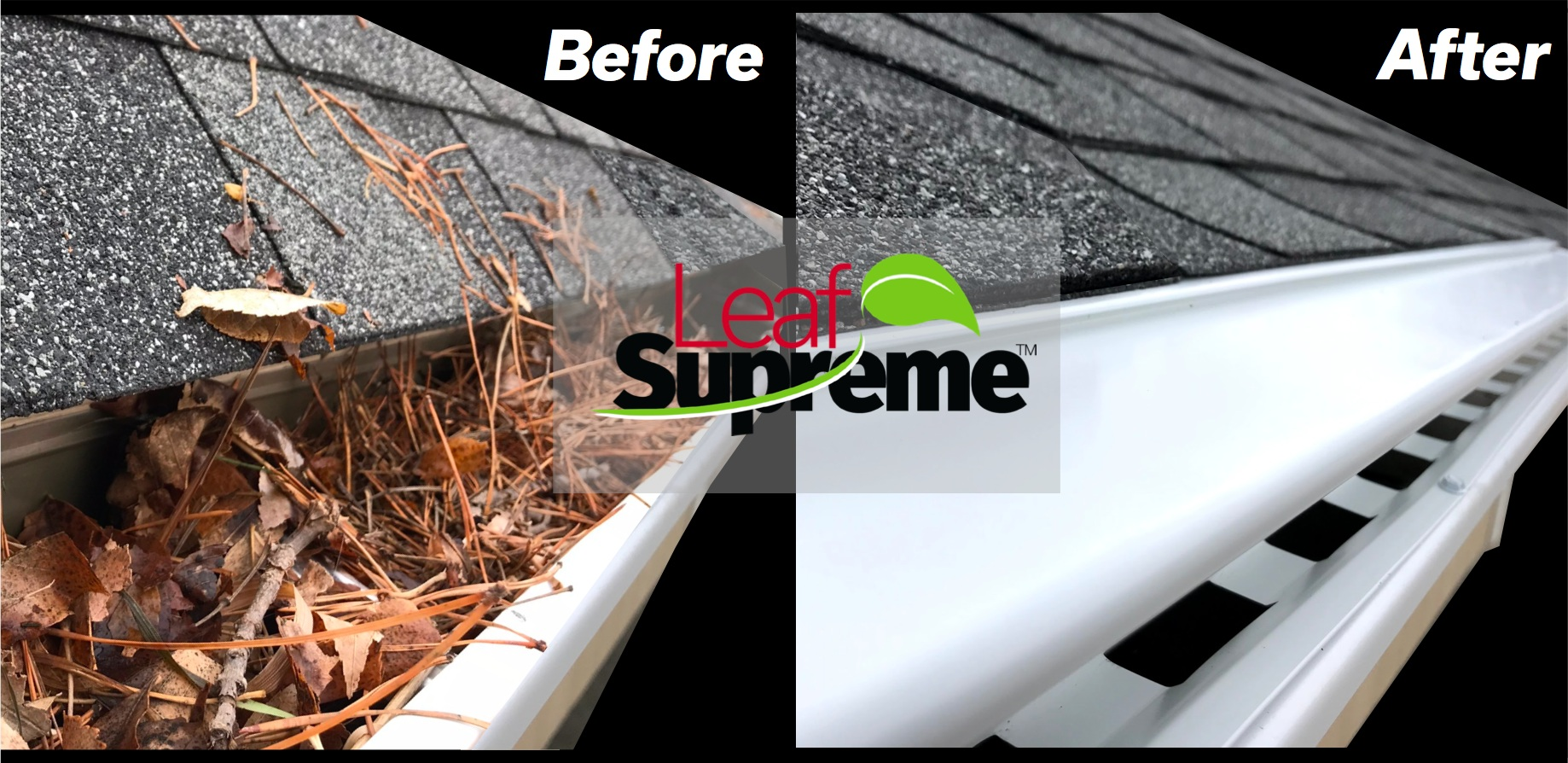 Clogged Gutter before Leaf Supreme™
