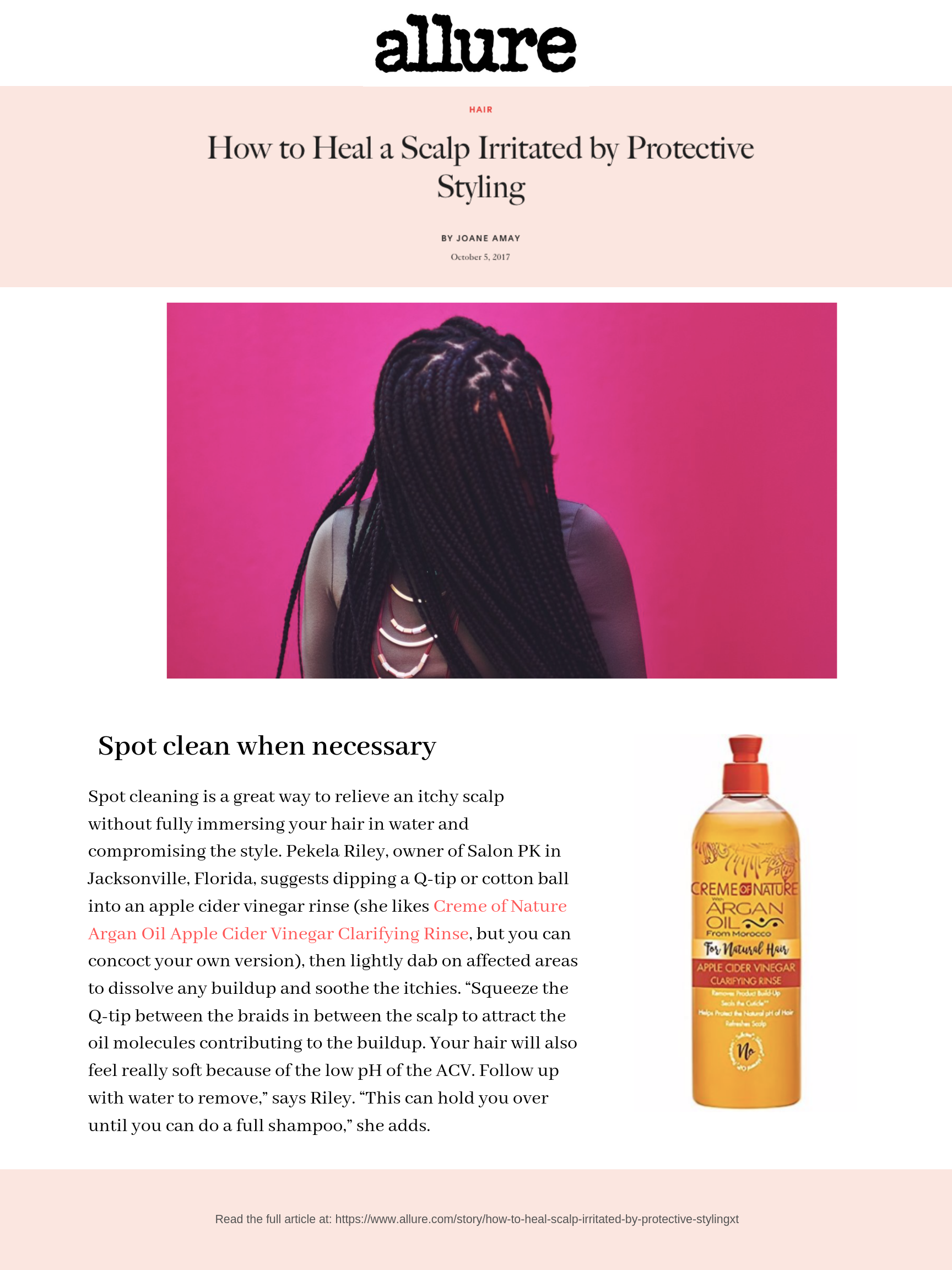 dSpot cleaning is a great way to relieve an itchy scalp without fully immersing your hair in water and compromising the style. Pekela Riley, owner of Salon PK in Jacksonville, Florida, suggests dipping a Q-tip or cot.png