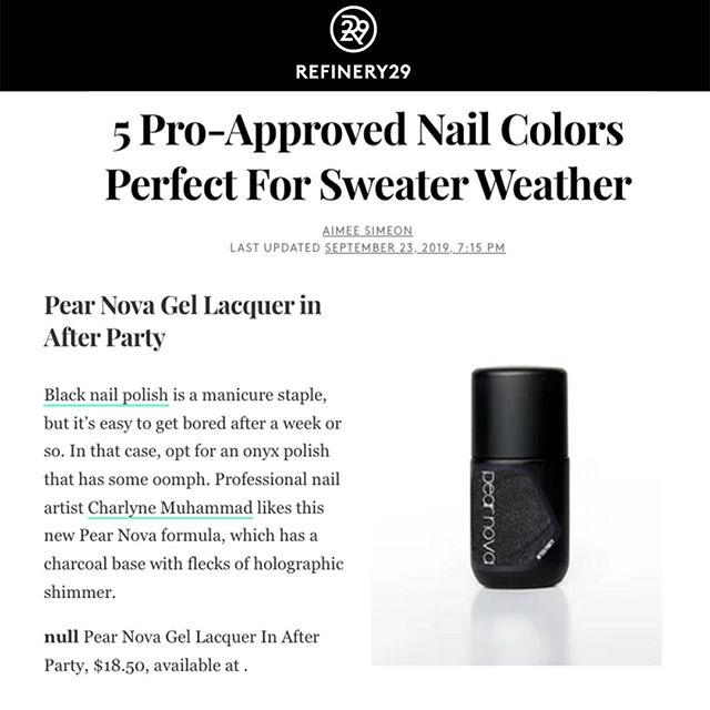 Thank you @refinery29 for letting everyone know that @PearNova 's new Gel Lacquer is Pro-Approved! They especially loved the After Party Gel Lacquer and we feel the same🖤 Who doesn't love a dark shimmer for the fall?! We are so happy to see our client's brand new line getting so much love⠀ ⠀ #FirstandLastPR⠀ #PearNova⠀ #Refinery29⠀ #PressHit⠀ #GelColors⠀ #FallNailColors⠀ ⠀