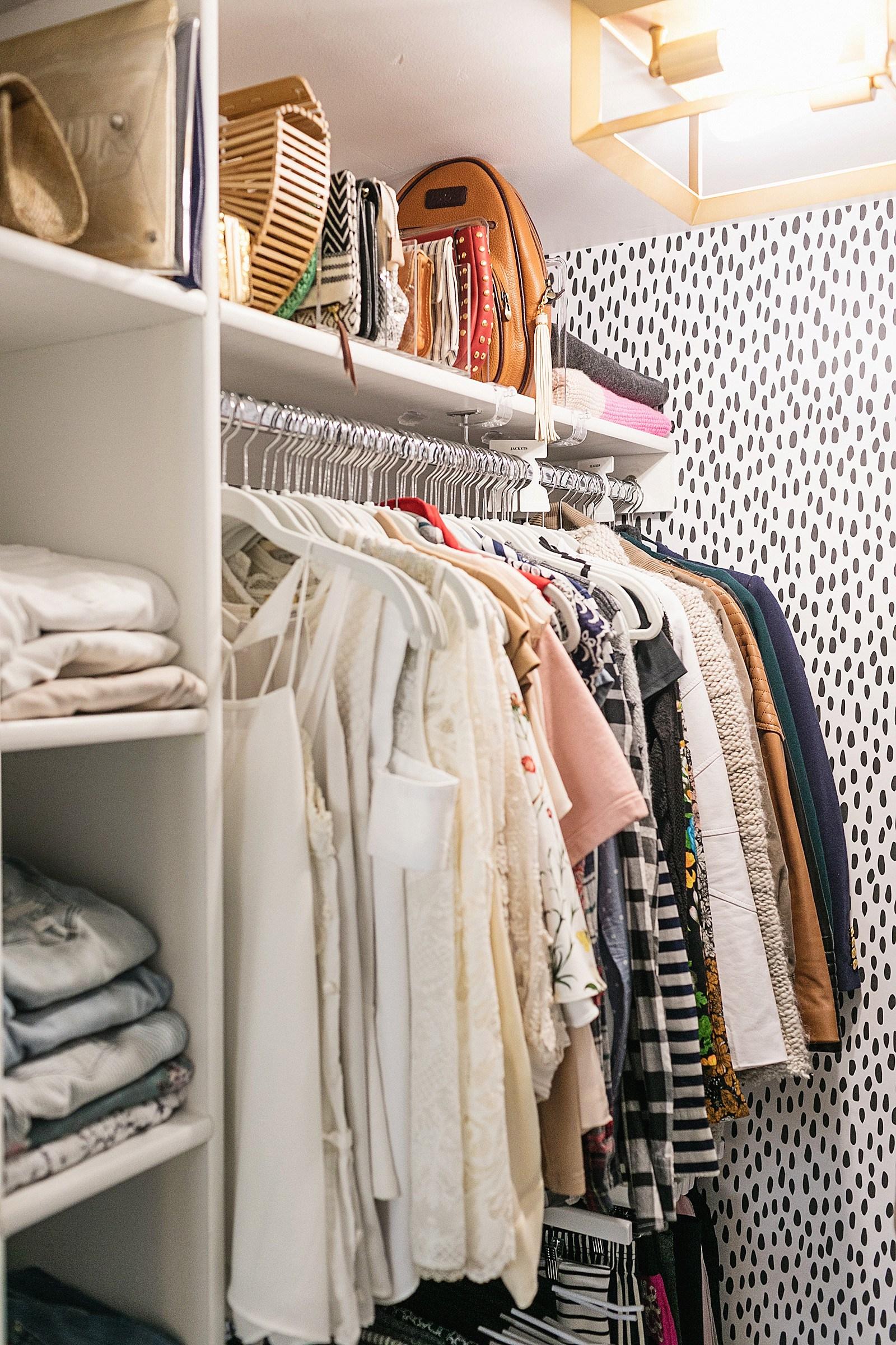 The upper shelf in an organized closet