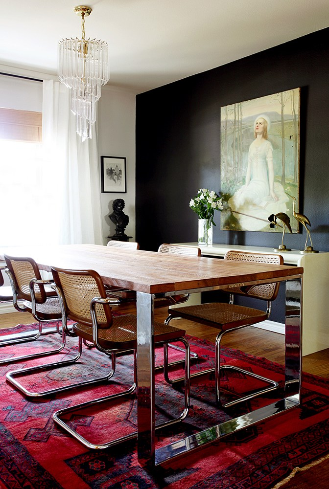 The Cesca Chair by Marcel Breuer in a bolder more modern dining room
