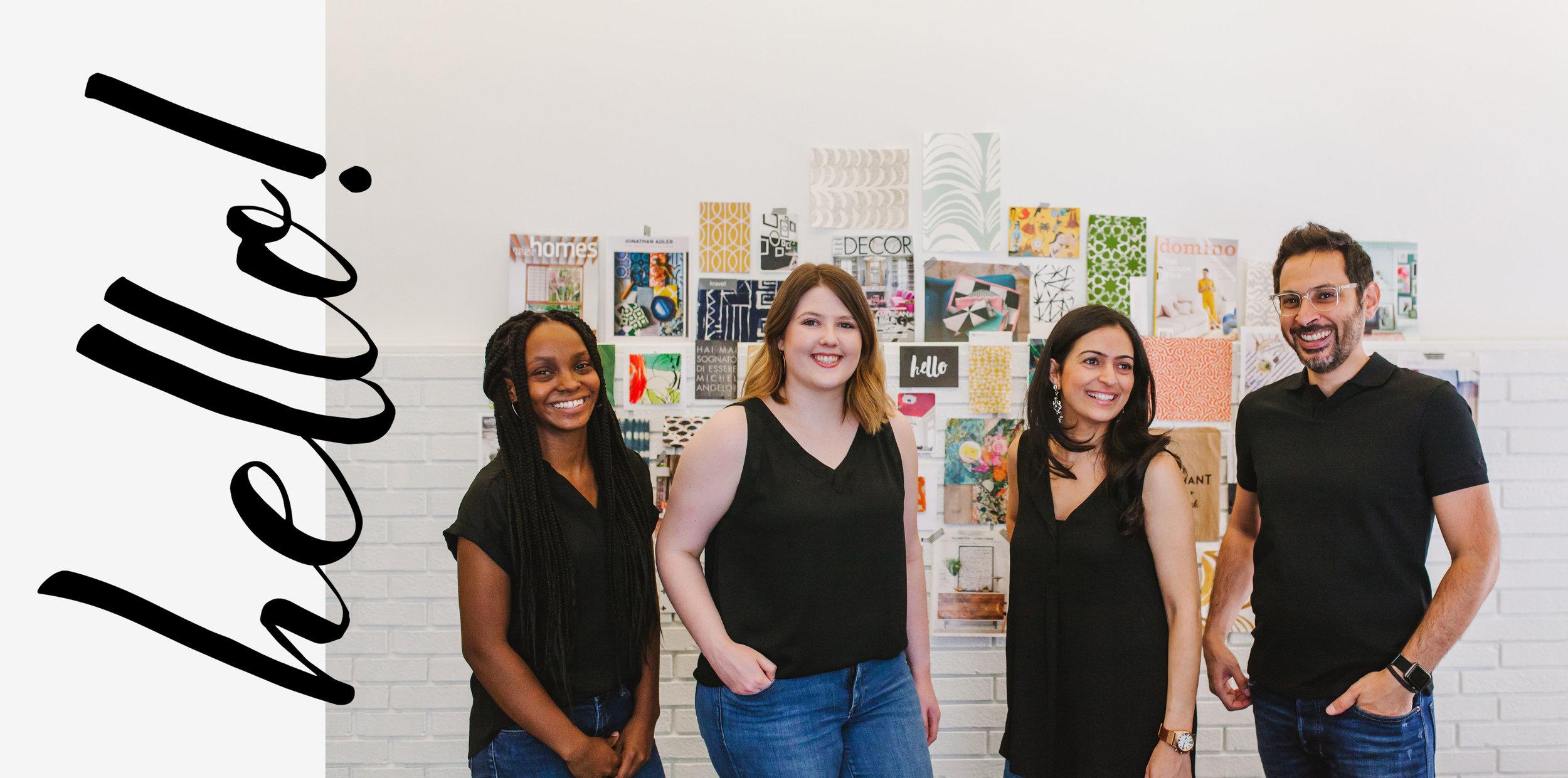 The Yellow Bungalow Interior Design Studio team in the office
