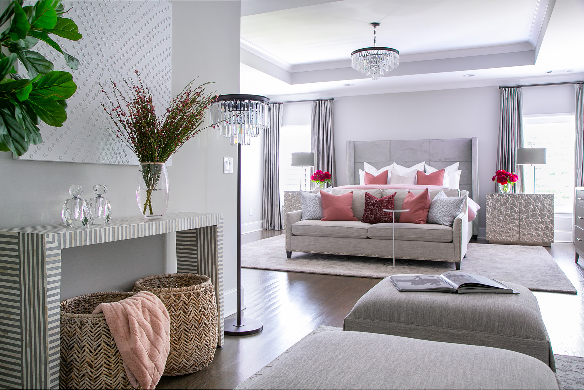 Chic, contemporary master bedroom with grey and dusty rose accents