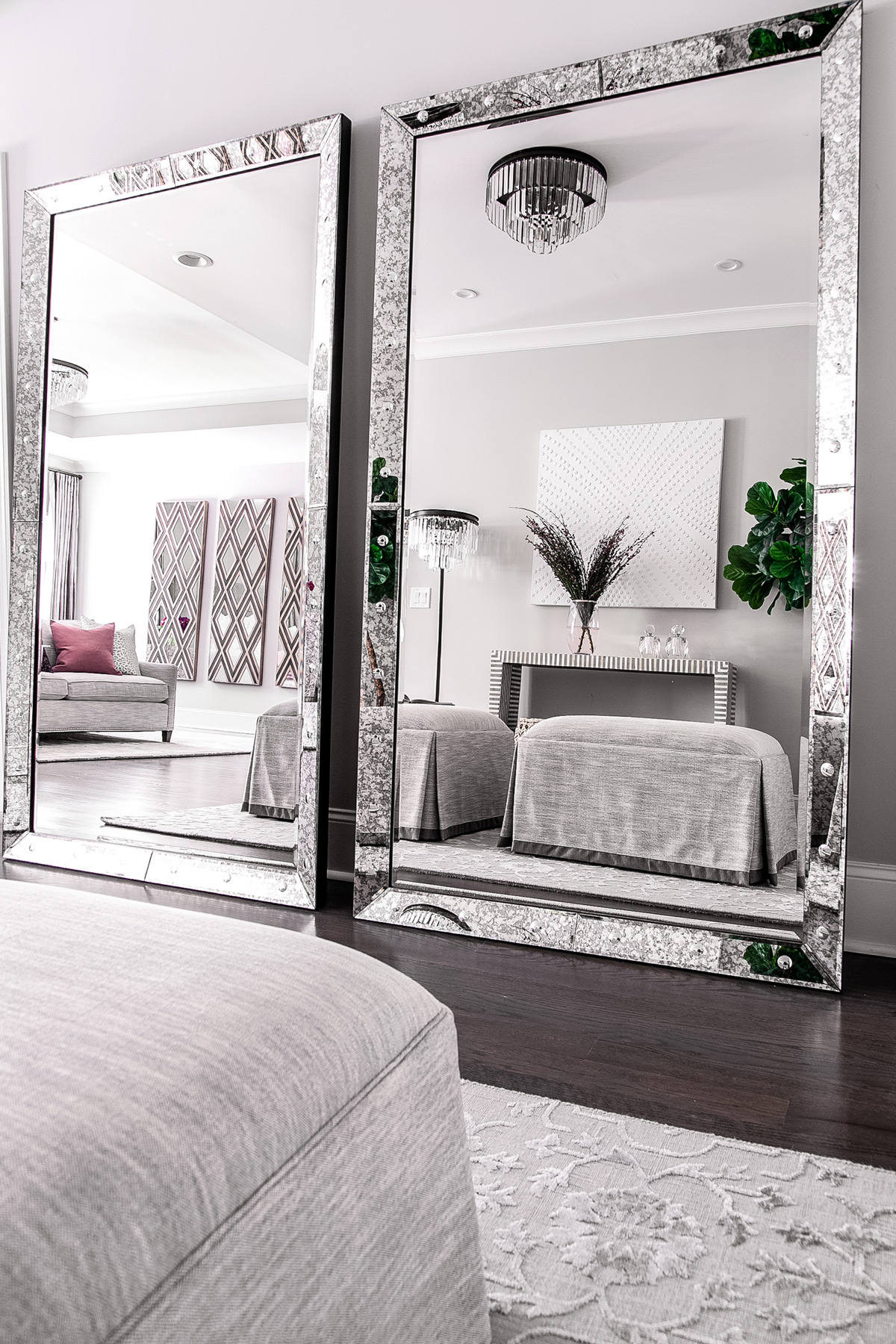 Antique floor mirrors from Renwil in master bedroom