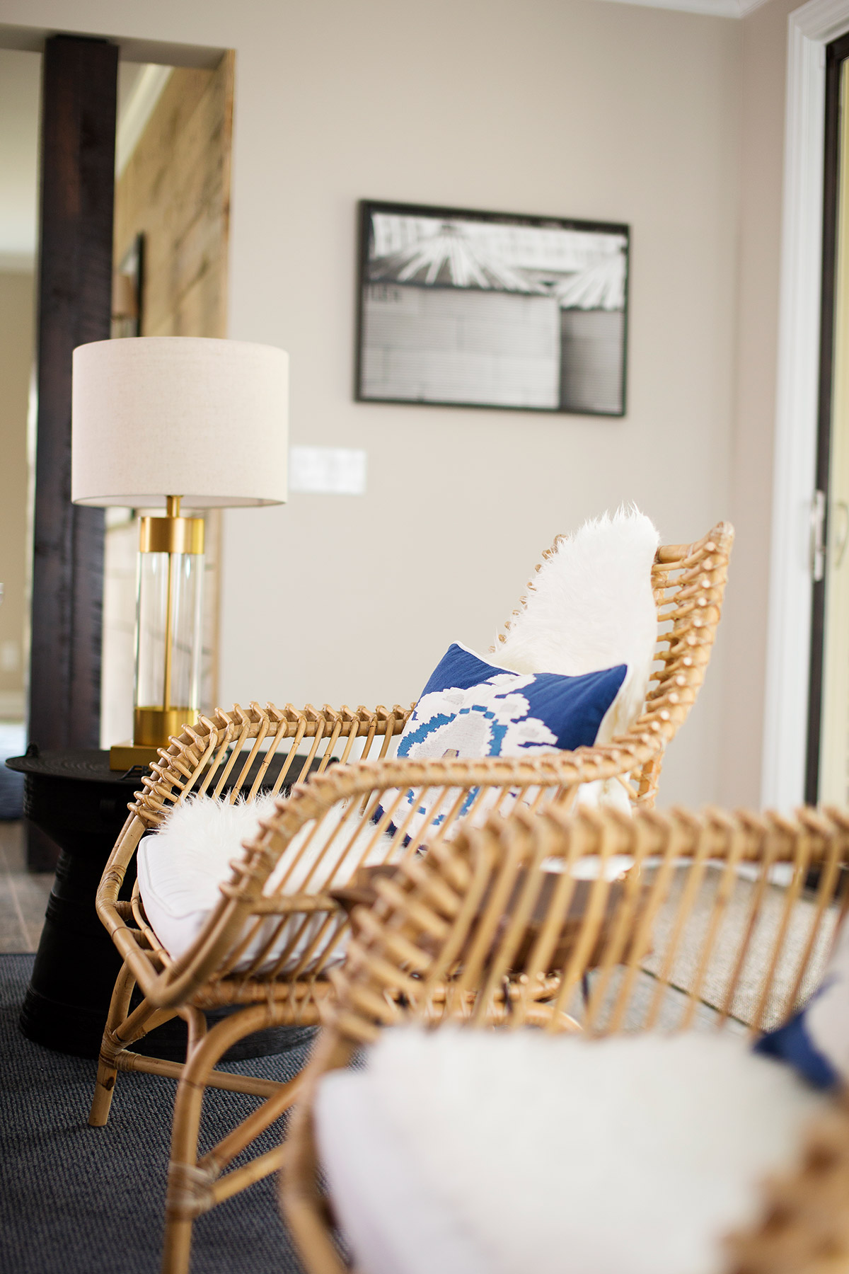 Rattan chairs in casual basement