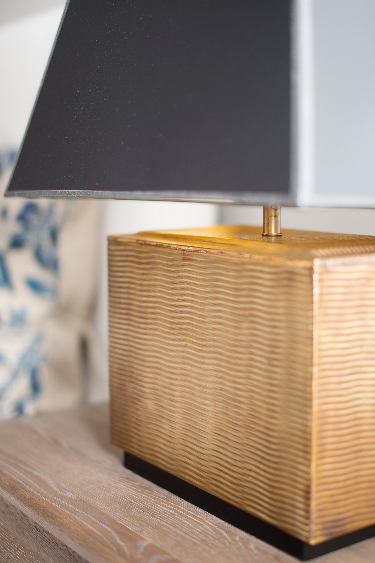 Brass table lamp with black shade