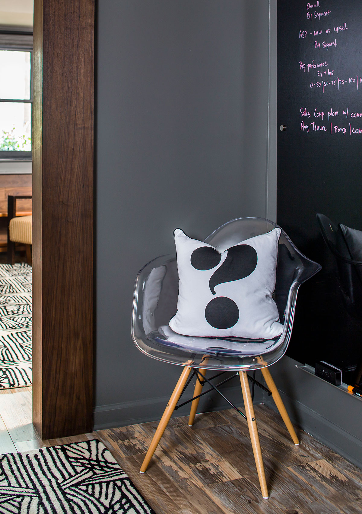 Chalkboard and clear chair with question mark pillow in corner of office