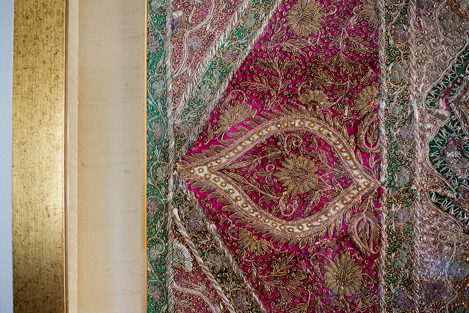 Detail of traditional silk beaded embroidery
