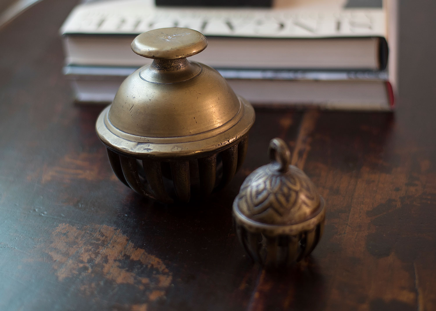 Brass accessories on bedside table