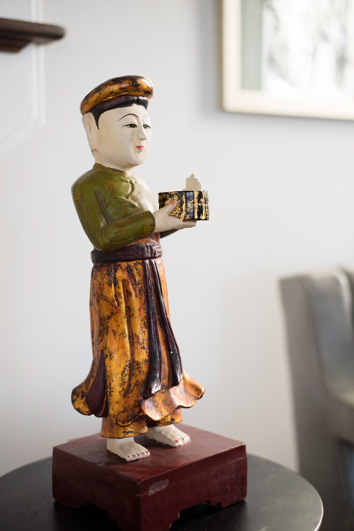 East Asian Wood Painted Sculpture