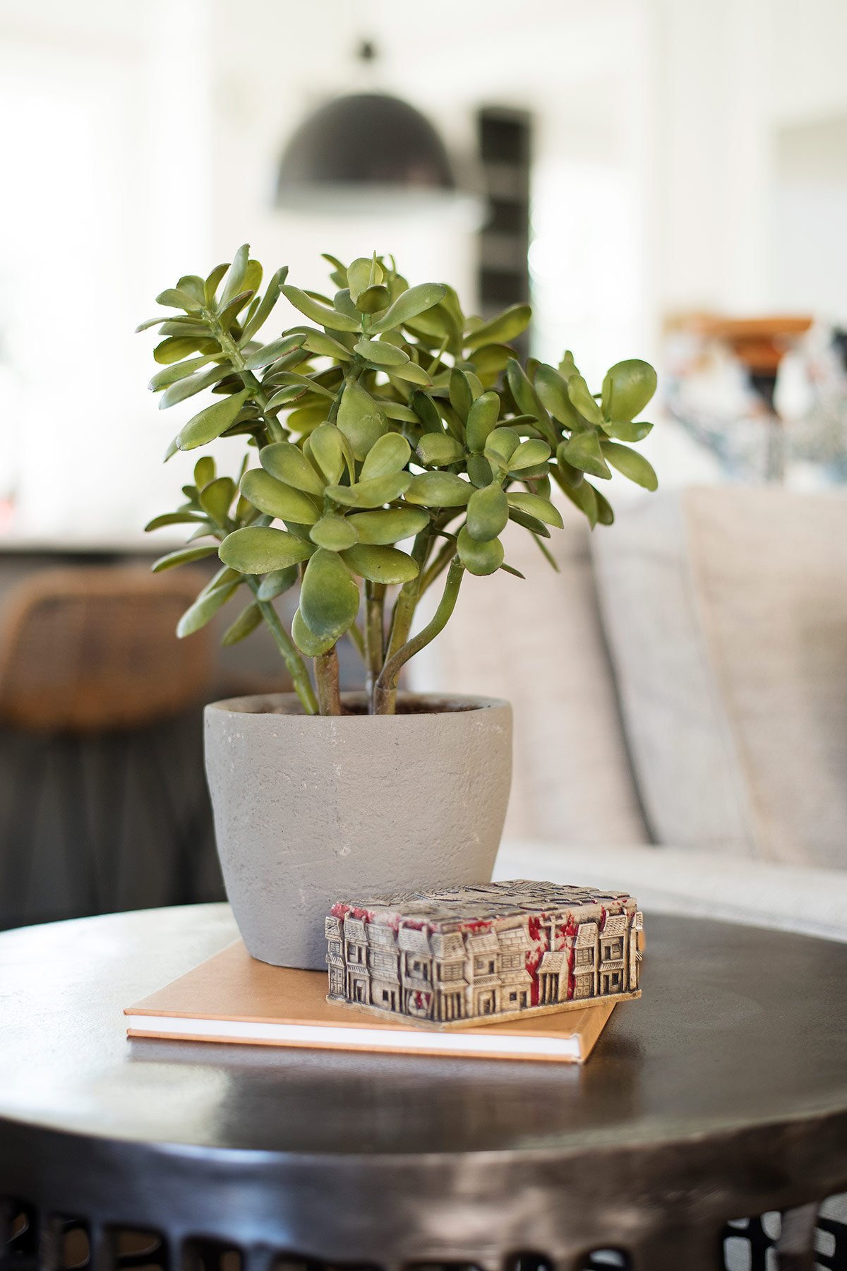 Side table with potted plant and books