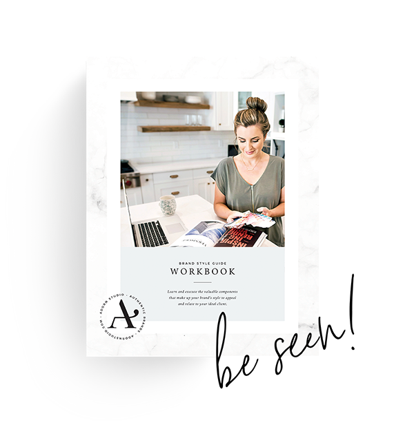 Brand Style Guide Workbook designed to attract your ideal client by Adorn Studio.