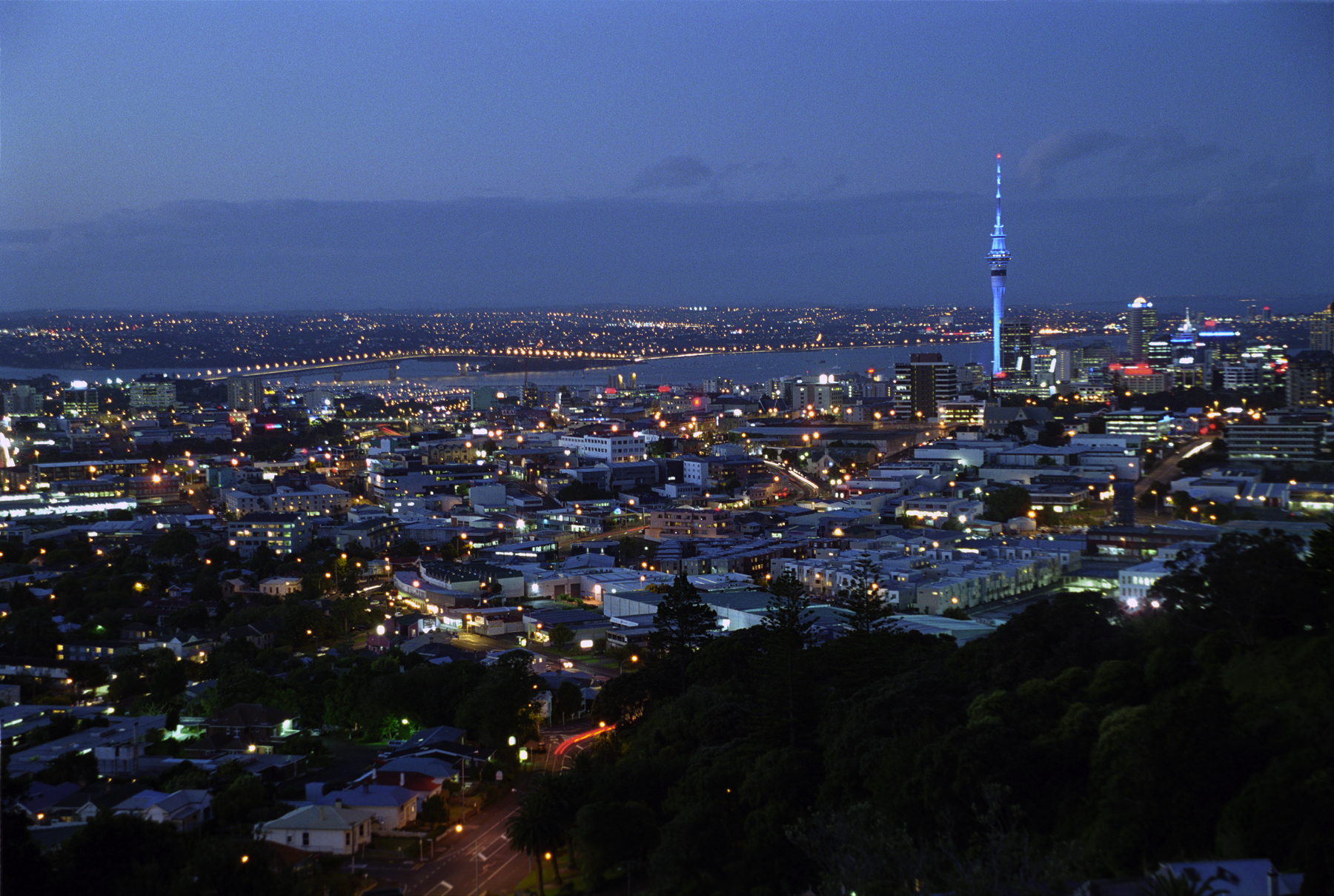 The view of Auckland from Mt Eden summit