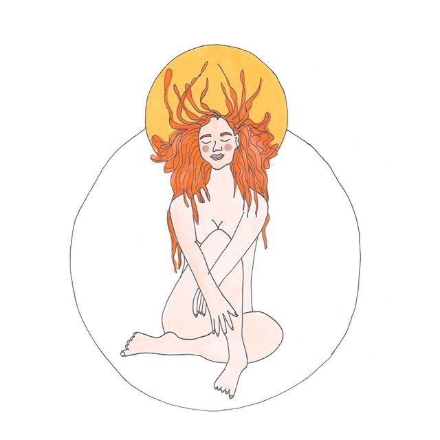 Full moon in Aires. Art by @jessicathewild  Muse: @ticethebasicwitch  Don my crown Of fiery silk  Let each strand  Scorch my rival So that all may know  Not to test my wild ways  And if this fire  Tries to change them They will let it in