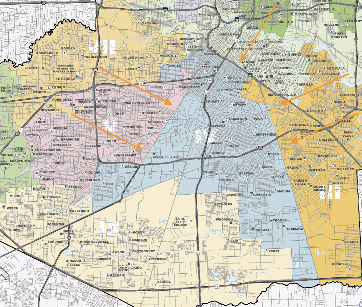 Map of District 4 - The blue section in the center of the map constitutes Region 4. (Click on the map for a larger image.)
