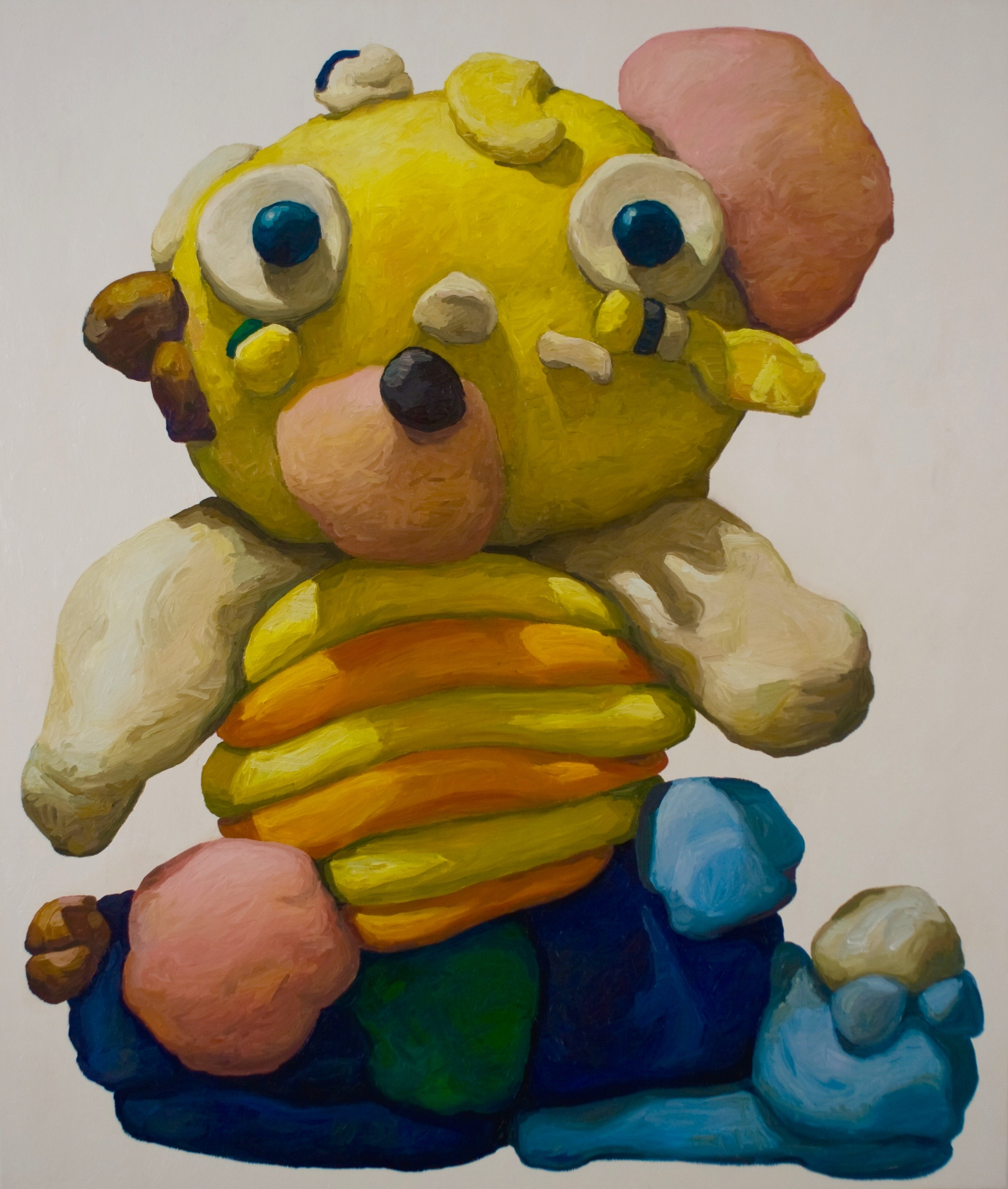 "Peter Opheim, ""Yellow Bear with Orange Stripes"", 65"" by 55"", oil/canvas, 2015 (#288)"