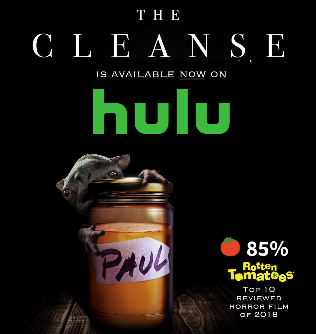 "My creature feature debut from this year: THE CLEANSE is now on Hulu!  It's ""an intriguing mixture of David Cronenberg, Joe Dante and Steven Spielberg.""  And I didn't even make up that quote! It's a real review! Please watch & share:  hulu.com/watch/1326641"