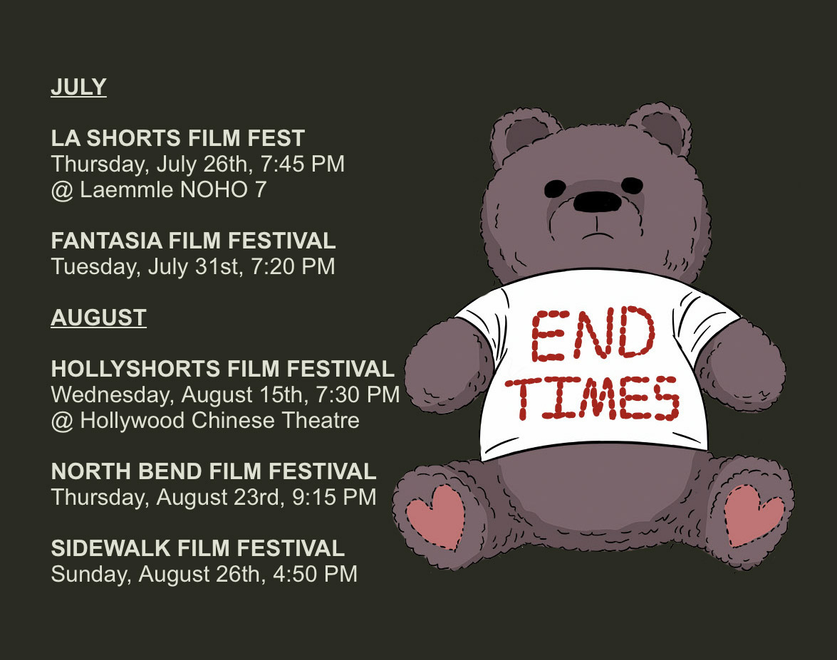 END TIMES will play 5 film fests this next month! I'll be at both Los Angeles screenings! If you live in Montreal, North Bend Washington, or Birmingham Alabama - check out a screening!  https://buff.ly/2A8bGMk