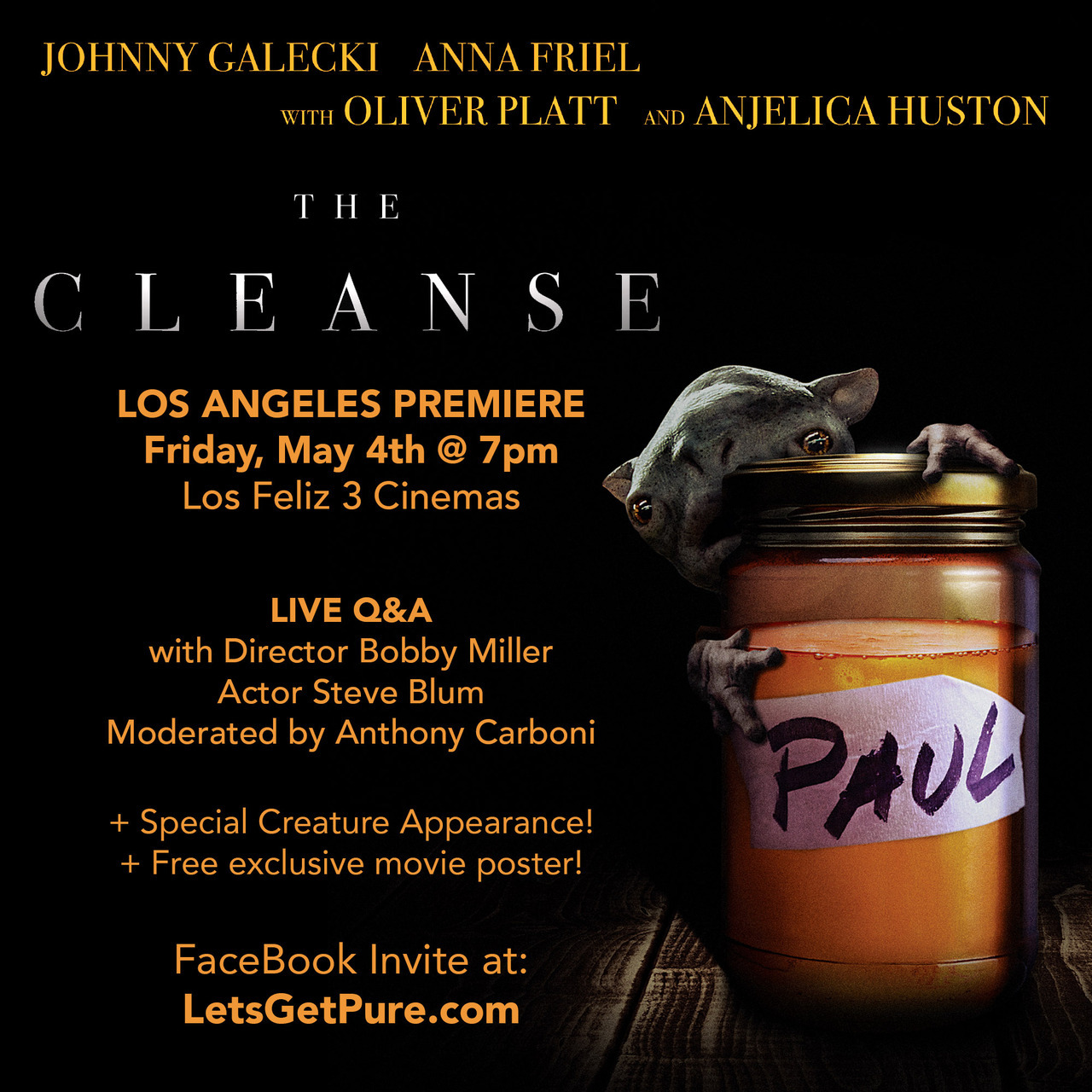 LOS ANGELES! The Cleanse has some exciting things planned! See above! Did I mention I'm LA premiering my short END TIMES too?  THIS is the screening you want, folks:  https://www.facebook.com/events/765160643694242/
