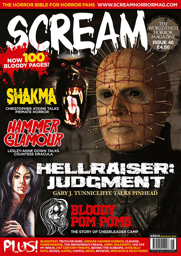 Hey internet!  Horror legend Michael Gingold interviewed me about  THE CLEANSE  for  Scream Magazine  # 48!  The article also includes some fun, never-before-seen photos from the making of the film. Spoiler alert: Creatures are involved!  It comes out in the UK on April 19th and will be available a little later in the USA at Barnes & Noble and Books-a-Million stores.  Want it delivered directly to your door? You can now pre-order the Magazine  world wide here .  In other words…  Buy Scream Magazine with Pinhead on the cover…and get an interview with THIS pinhead inside! Heyo!