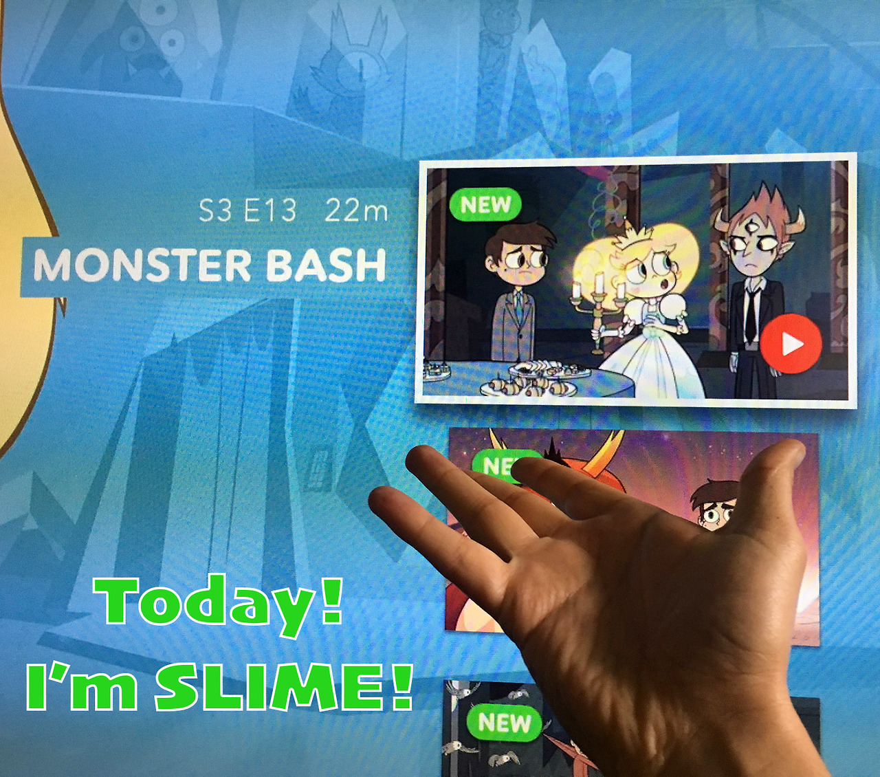 "Today I'm a voice on Star Vs. The Forces of Evil! It's episode 13 of Season 3 entitled: ""Monster Bash""  I play a character named Slime! You can watch it on the Disney XD channel tonight at 8:30pm or on the Disney Now app RIGHT NOW or purchase it on iTunes in a few days!"