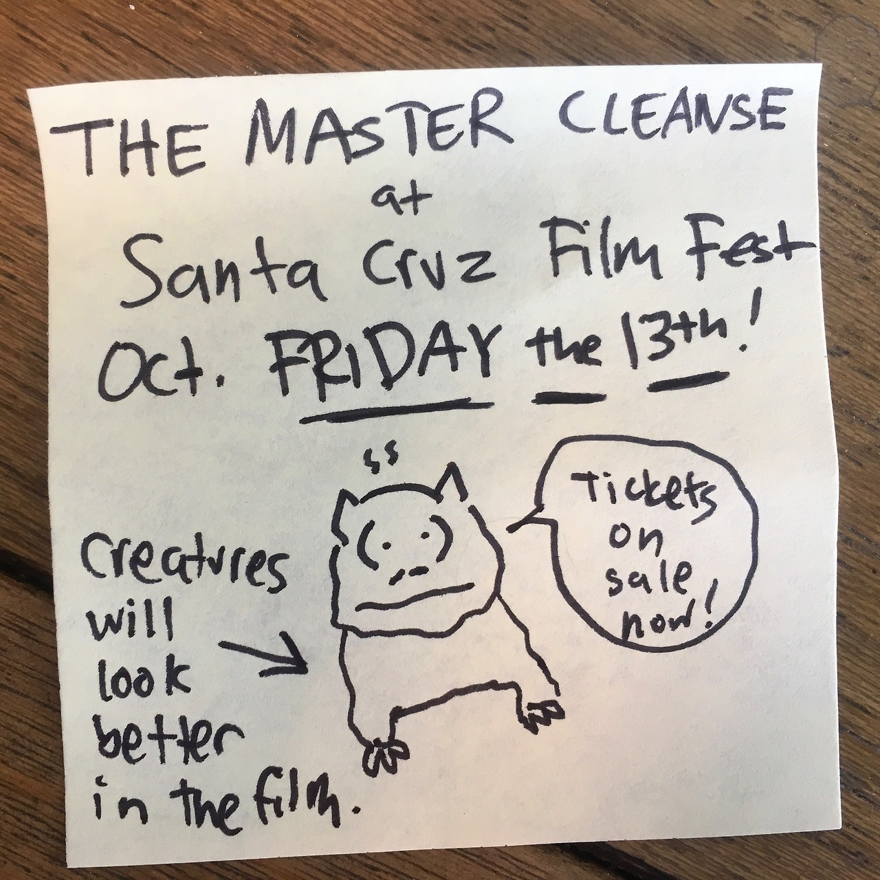 The Master Cleanse plays Santa Cruz, California October FRIDAY THE 13th!   Tickets here  .
