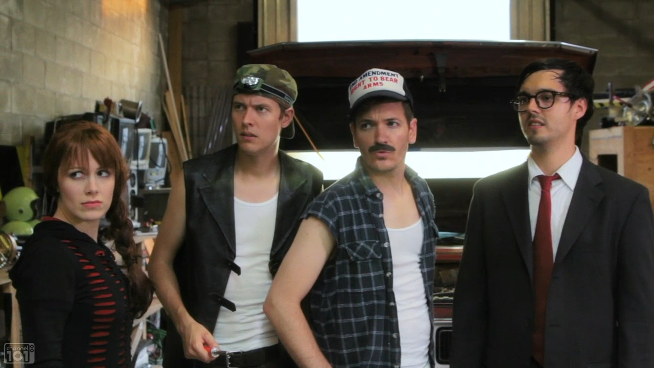 whitneyavalon :     Qwerty ( Whitney Avalon ), Soldering Iron (Justin Johnson), Big Rig (Luke Barats), and Soggy Biscuit ( Bobby Miller ) in  CAR-JUMPER 2 .     Hey! If you haven't seen this episode,  check it out !!!