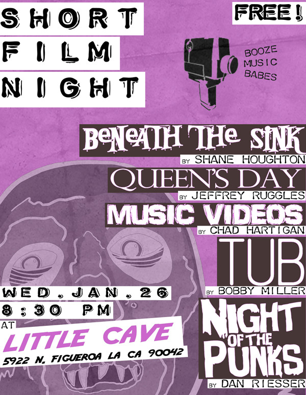 """Hey Los Angeles! TUB plays tomorrow night at  Little Cave in Highland Park , along with some other short films and music videos!   Big thanks to Dan Riesser for putting this together and asking me to be a part of it. I'm looking forward to seeing his """"Night of the Punks"""" again and checking out the rest of the films for the first time!     FACEBOOK INVITE HERE!"""