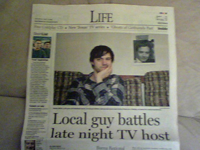 """LOCAL BOY MAKES GOOD    Special thanks to Tim Clement, a friend back home (JERSEY!!!!) for basically setting up these two local bits of press.    Press of Atlantic City - May 2nd, 2009     CBS Philadelphia - May 1st, 2009  (This one's a video interview - done on a webcam no less!.  Click on the video in the top right hand corner.  CBS New York also covered this .)   And if you haven't seen this one, it's not local, but:    NewTeevee.com - April 28th, 2009 - """"The Jimmy Fallon Goliath, toppled by Bobby Miller?"""""""